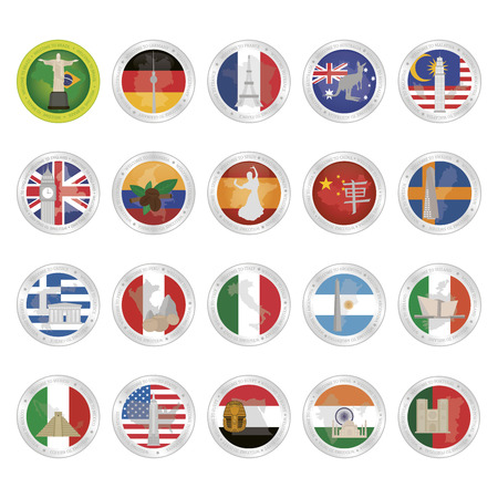 ireland cities: Set of country flags with famous places. Vector illustration