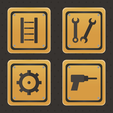 construction equipment: Set of under construction icons on a black background. Vector illustration Stock Photo