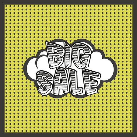 onomatopoeia: Isolated comic speech bubble for sales purposes. Vector illustration