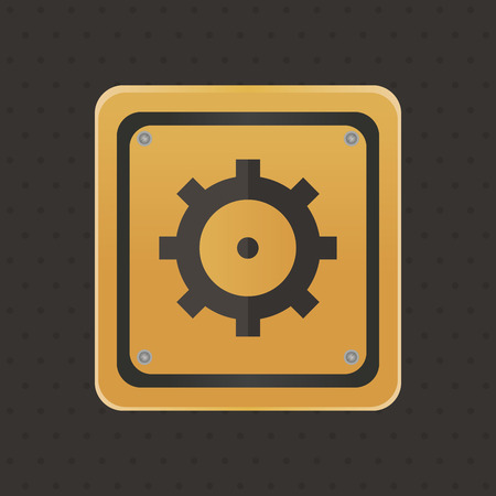 protection gear: Isolated under construction icon on a black background. Vector illustration