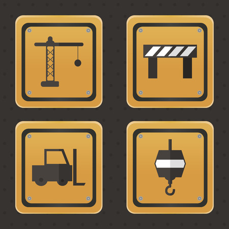 under construction symbol: Set of under construction icons on a black background. Vector illustration Stock Photo