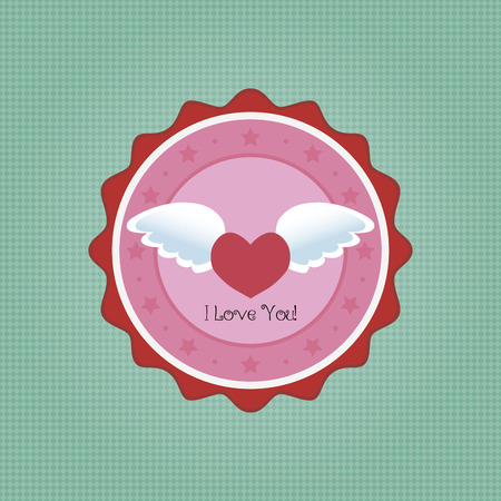 heart with wings: Isolated round label with text on a textured background. Vector illustration Stock Photo