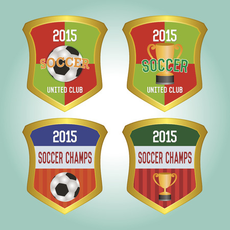 Set of labels with text and trophies or soccer balls. Vector illustration illustration