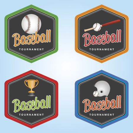 hexagon background: Set of labels with baseball elements. Vector illustration