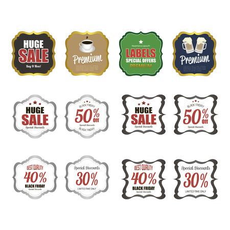Set of sale labels on a white background. Vector illustration Foto de archivo