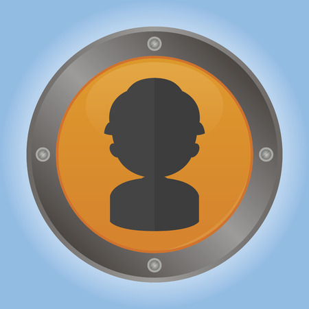 Isolated round label with a construction icon. Vector illustration illustration