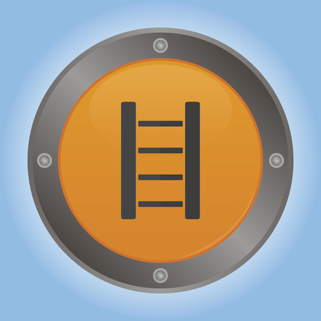 ladder safety: Isolated round label with a construction icon. Vector illustration
