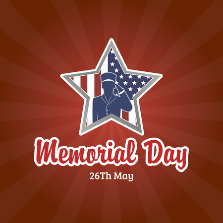 silhouette america: Colored background with text and a star for memorial day. Vector illustration Stock Photo