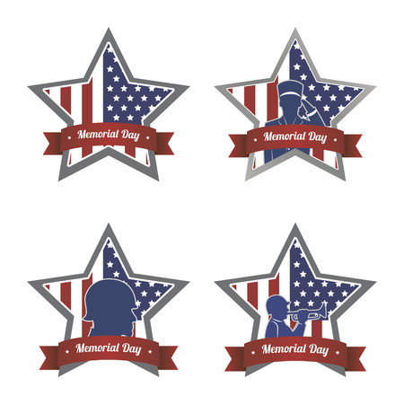 memorial day: Set of labels for memorial day. Vector illustration