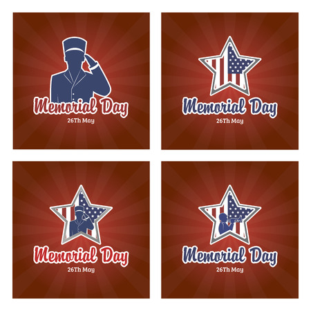 memorial day: Set of backgrounds for memorial day. Vector illustration