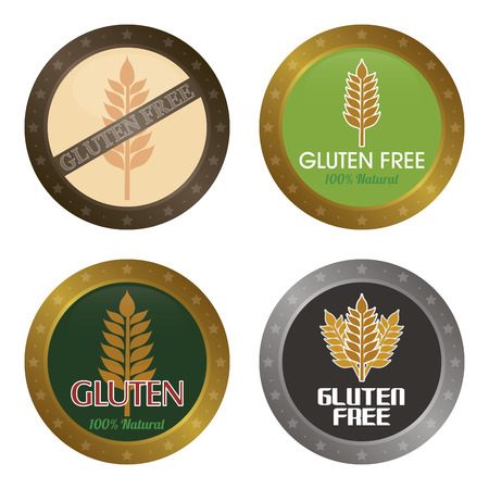 biodegradable: Set of gluten free labels with text. Vector illustration
