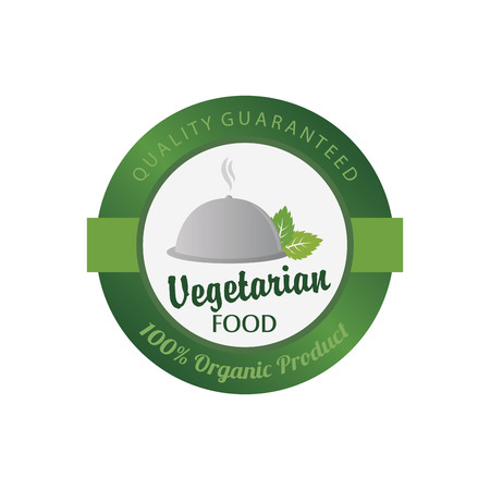 biodegradable: Isolated label with text for vegetarian food. Vector illustration Illustration