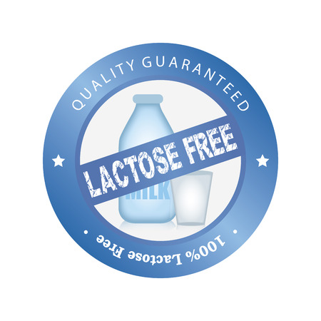 intolerance: Isolated label with text and lactose free products. Vector illustration Illustration
