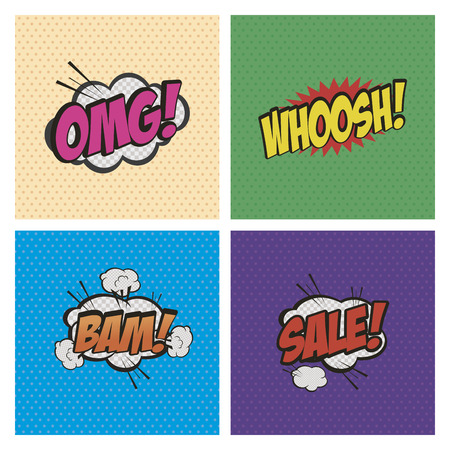 onomatopoeia: Set of comic speech bubbles on colored backgrounds. Vector illustration