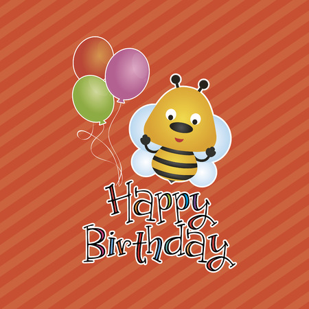bee party: Colored background with text and a happy animal for birthday. Vector illustration Illustration