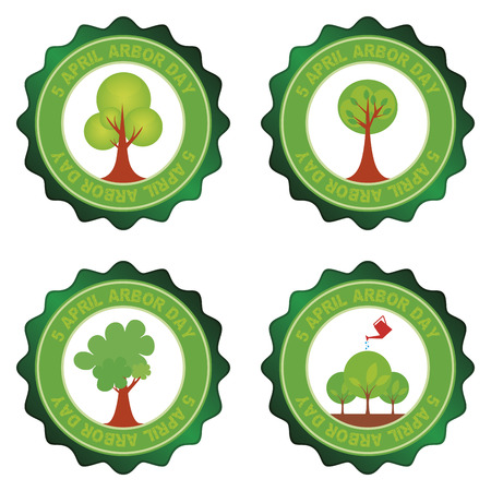 arbor: Set of round labels for arbor day. Vector illustration Illustration