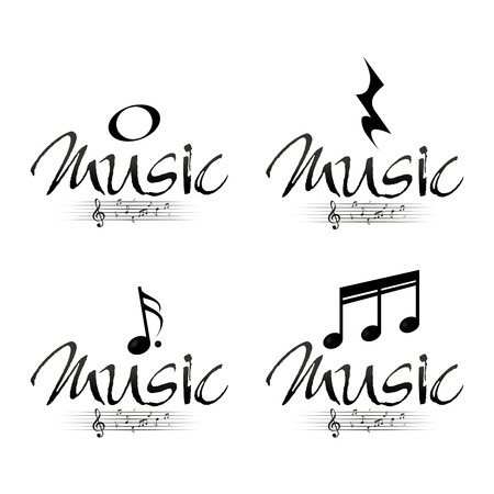 pentagramma musicale: Serie di note musicali su uno sfondo bianco. Illustrazione vettoriale Vettoriali