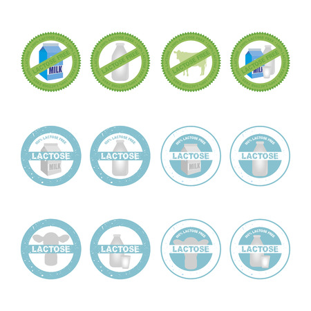 lactose: Set of lactose free labels on a white background. Vector illustration Illustration