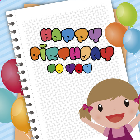 kid vector: Colored background with text and a kid. Vector illustration Vectores