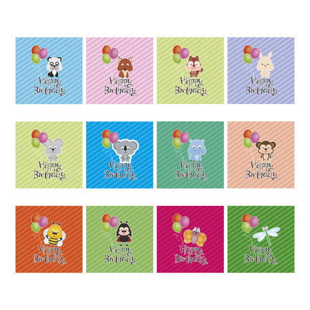 bee birthday party: Set of adorable animals on colored backgrounds. Happy birthday Vector illustration
