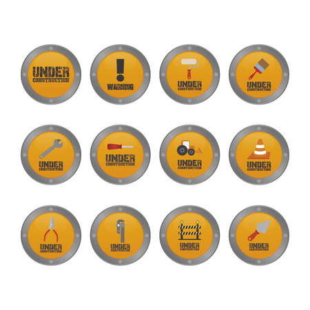 under construction: Set of under construction labels on a white background. Vector illustration