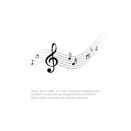 Nota musical aislada sobre un fondo blanco. Ilustración vectorial
