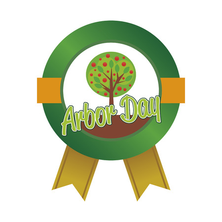 arbor: Isolated round label for arbor day. Vector illustration Illustration