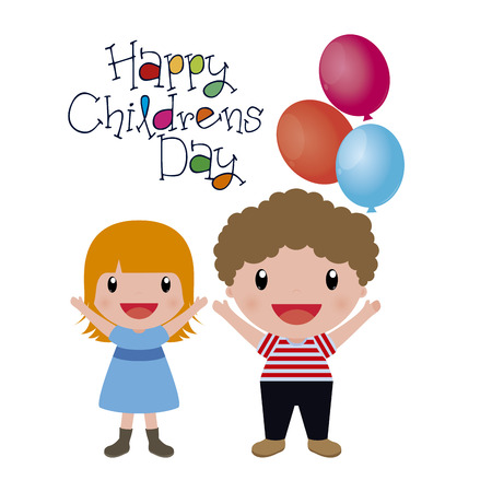 Happy kids on a white background with text. Vector illustration Stock Illustratie