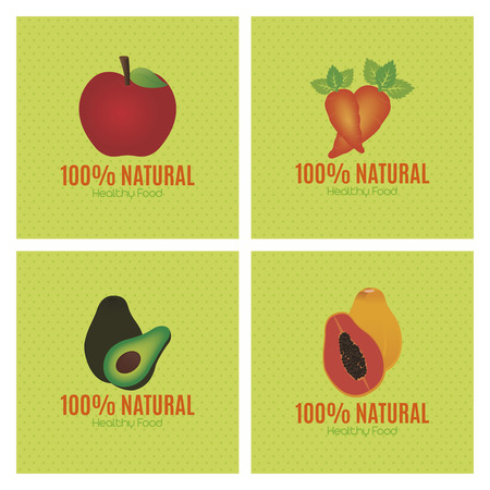 textured backgrounds: Set of fruits and vegetables on textured backgrounds. Vector illustration