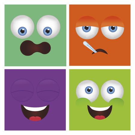 ni�os enfermos: Conjunto de expresiones faciales abstractas sobre fondos de color. Ilustraci�n vectorial