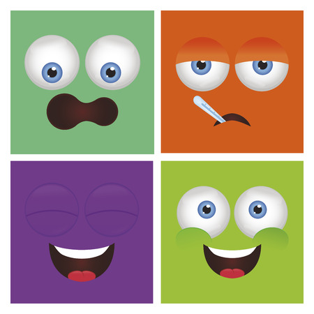 colored backgrounds: Set of abstract facial expressions on colored backgrounds. Vector illustration
