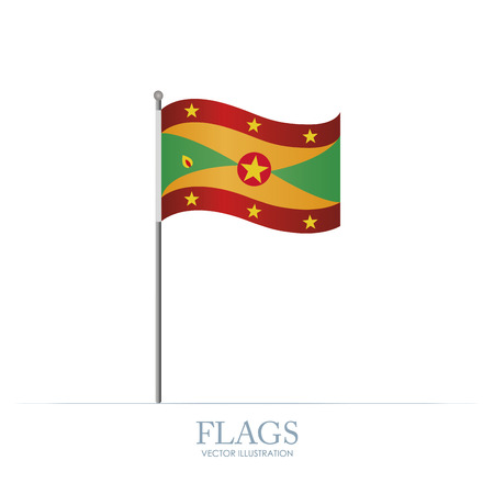 grenada: Abstract Grenada flag on a white background