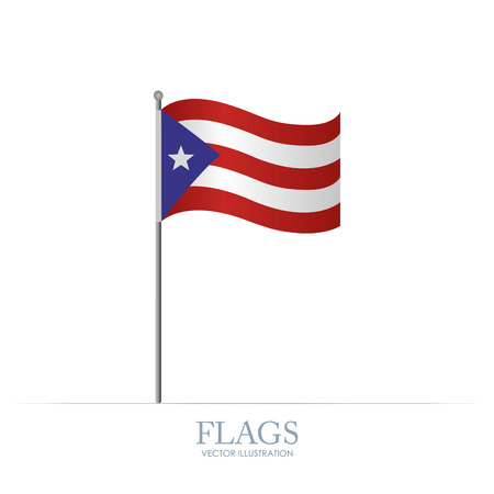 Abstract Puerto Rico flag on a white background Stock Illustratie