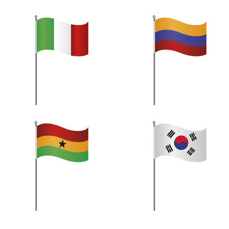 republic of colombia: Abstract set of four flags on a white background Illustration