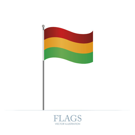 bandera de bolivia: Bandera abstracta Bolivia sobre un fondo blanco Vectores