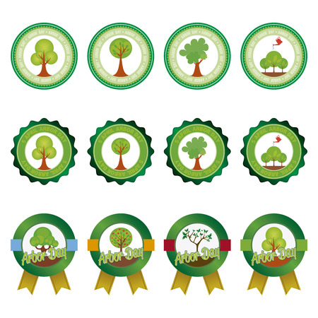 arbor: abstract set of arbor day labels on a white background Illustration