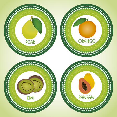 abstract fruit: Etiquetas abstractas de fruta en un fondo verde