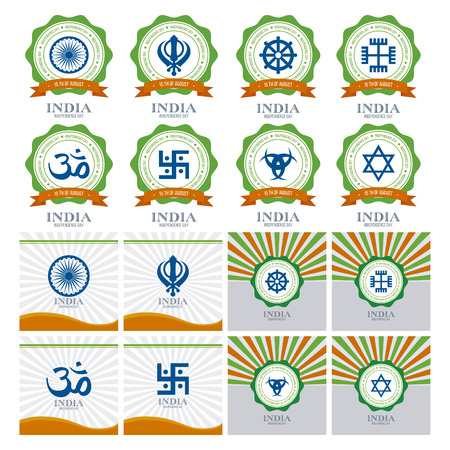 constitution day: Abstract india independence day designs with some special objects Illustration