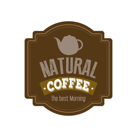 white patches: Abstract coffee label on a white background Illustration