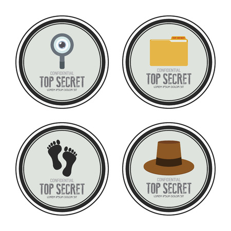 Abstract top secret labels on a white background Illustration