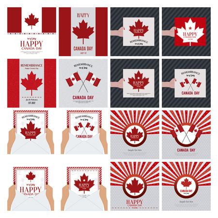 Abstract set of Canada day background with some special objects Illustration