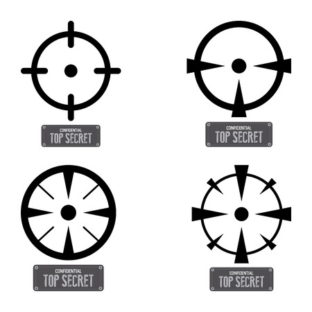 secret word: Abstract top secret labels on a white background Illustration