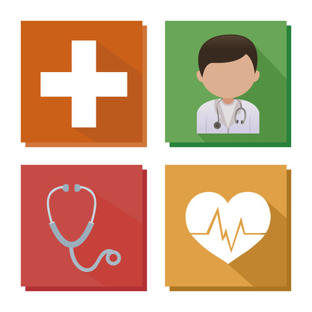 urgencias medicas: Símbolos medicina Abstracto sobre un fondo blanco Vectores