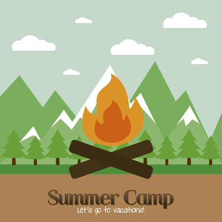 Abstract summer camp background with some special objects