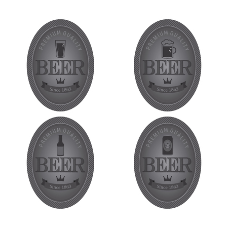 happy hour drink: Abstract beer labels on a white background Illustration