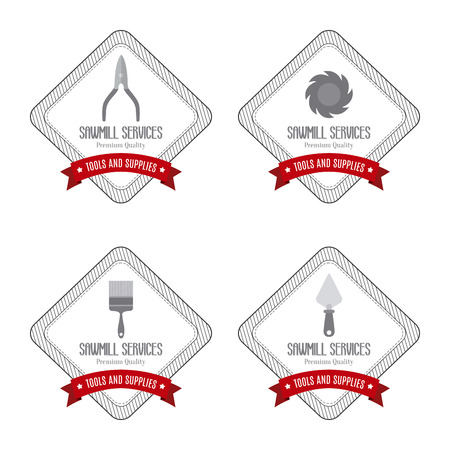 hatchet man: abstract sawmill labels on a white background
