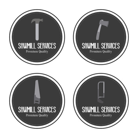 steel mill: abstract sawmill labels on a white background
