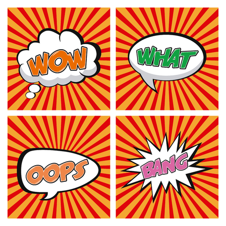 Set of comic expressions on different colored and textured backgrounds