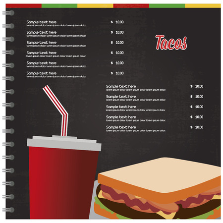 combo: Colored fast food menu with text and a combo