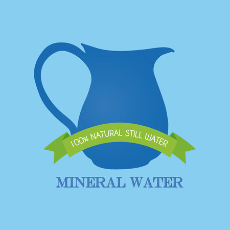 mineral: Isolated mineral water icon with a ribbon with text on a blue background
